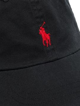 SPORT CAP-HAT BLACK_RED RALPH LAUREN
