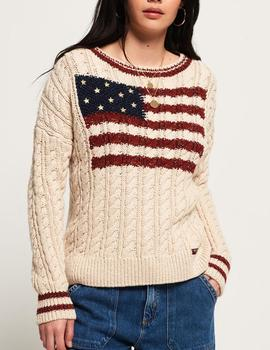 Jersey American Knit Beige Superdry para Mujer