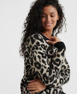 Jersey Lisa Leopard Marron Superdry para Mujer