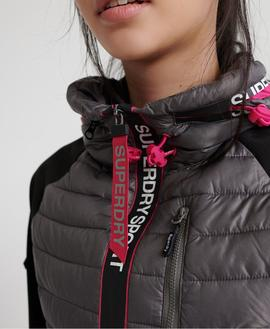Puffer Power Lite Hybrid Gris Superdry para Mujer