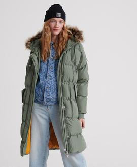 Luxe longline Puffer Verde Superdry para Mujer