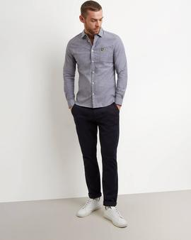 Camisa Space Dye Oxford Gris Lyle - Scott para Hombre