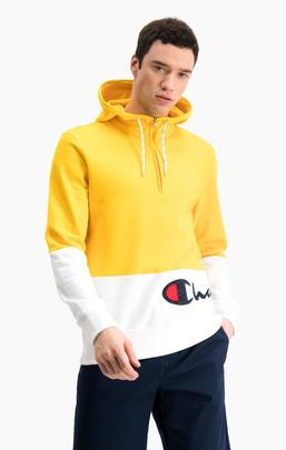 Half Zip-Up Colour Block Wraparound Logo Hoodie