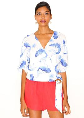 Blue Fish Top/ Print/Pepa Loves