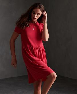 SMOCKED T SHIRT DRESS/ APPLE RED / SUPERDRY