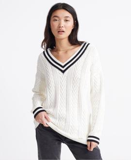 EDIT VEE NECK PREPPEY KNIT / CREAM / SUPERDRY